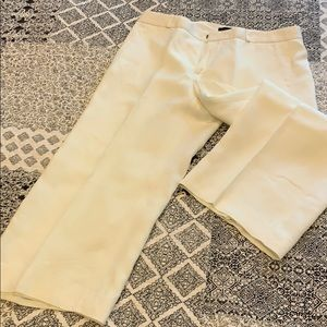 White/cream crop linen pant